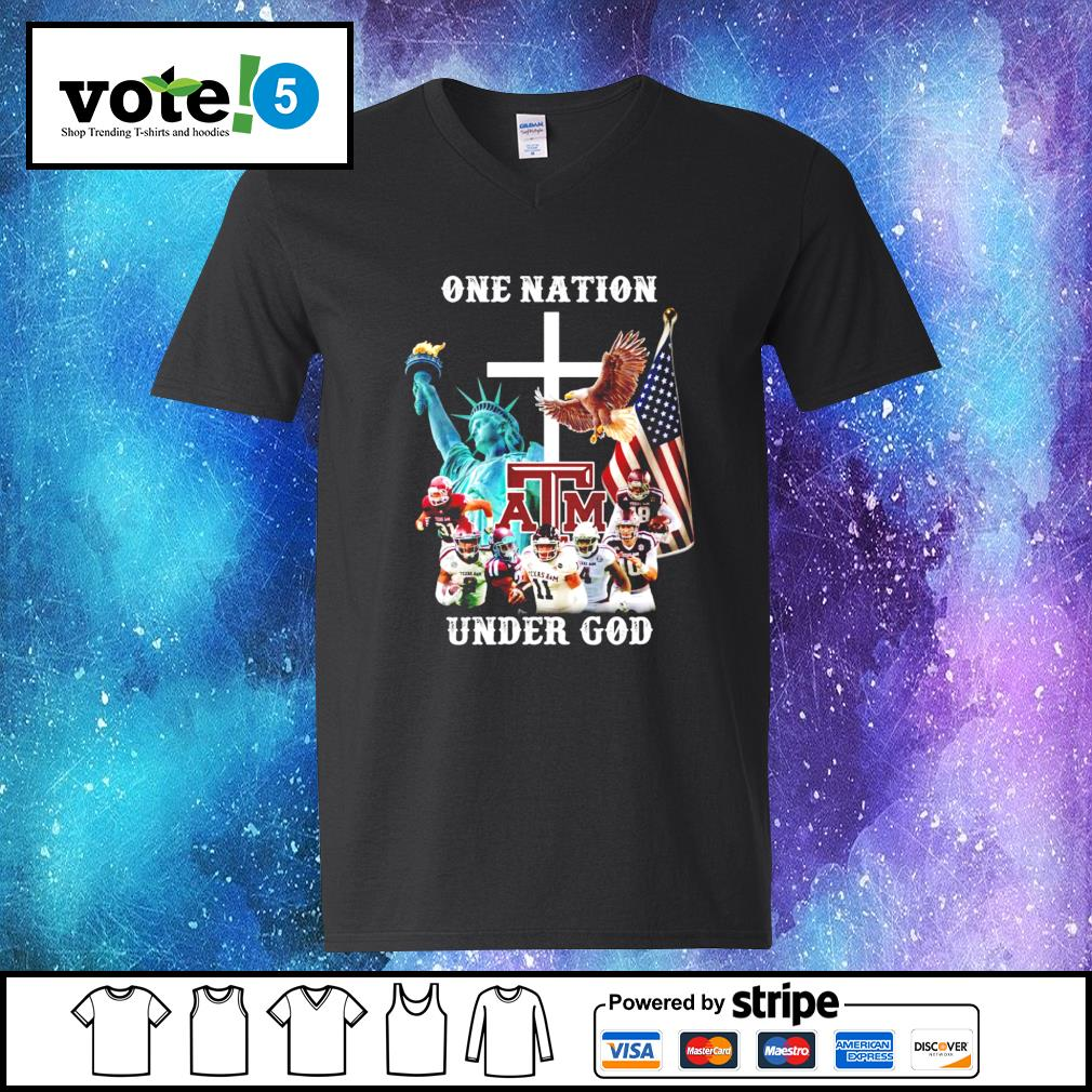 One nation Texas A&M under god V-neck-T-shirt