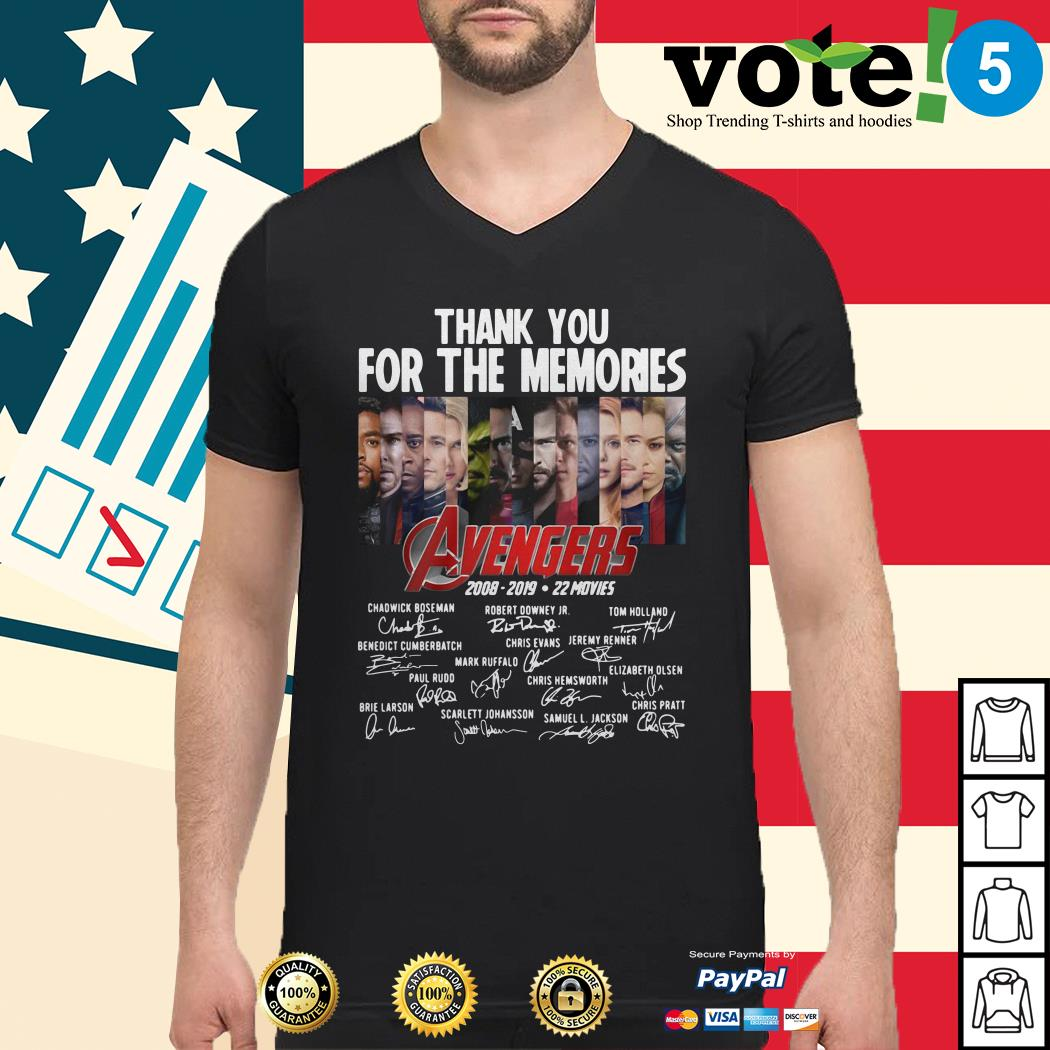 Thank you for the memories Avengers 2008-2019 22 movies signature Guys shirt