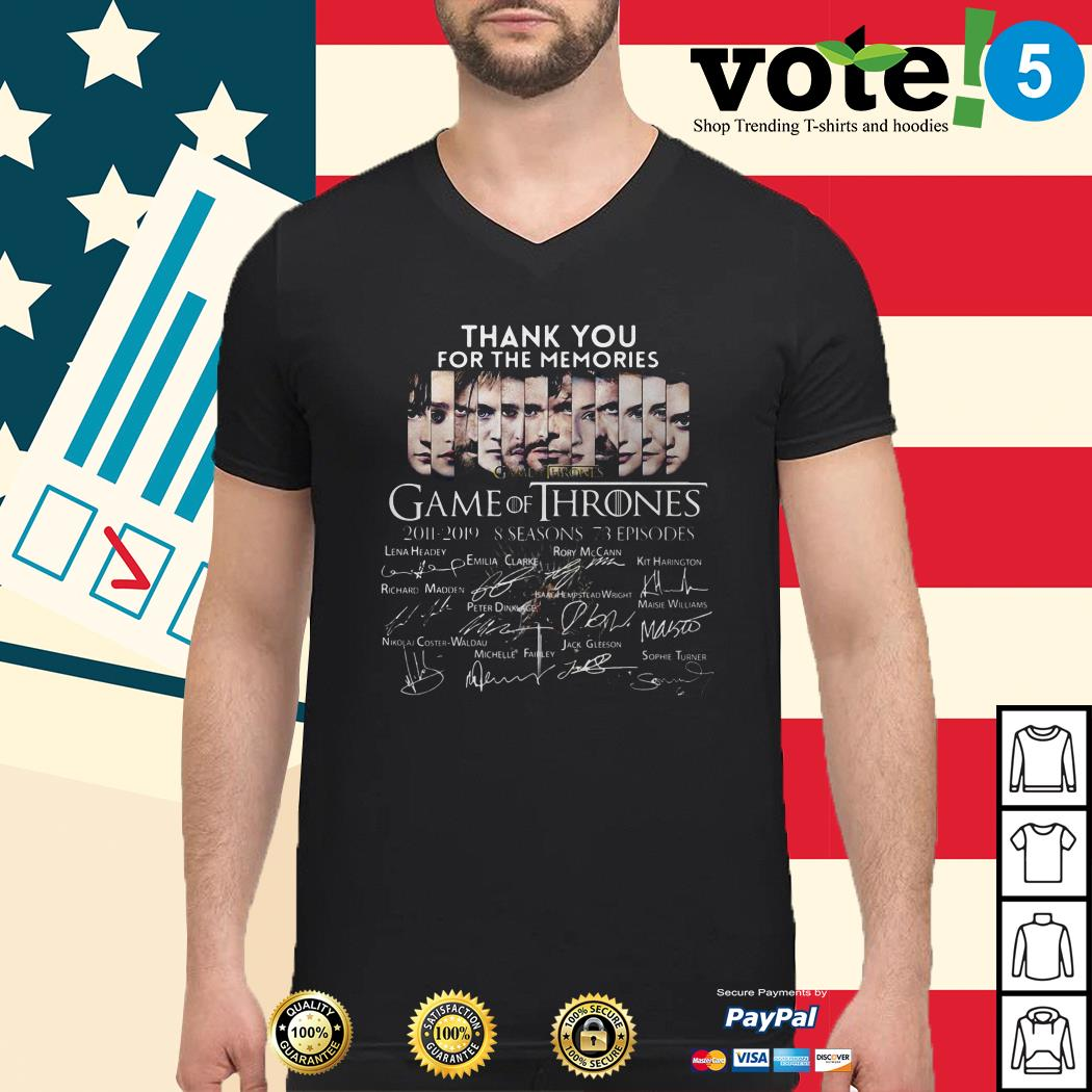 Thank you for the memories Game of Thrones 2011-2019 8 seasons signature Guys shirt