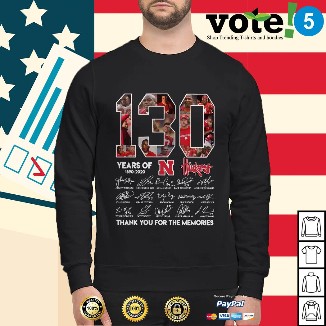 130 Years of Huskers 1890-2020 thank you for the memories signature Sweater