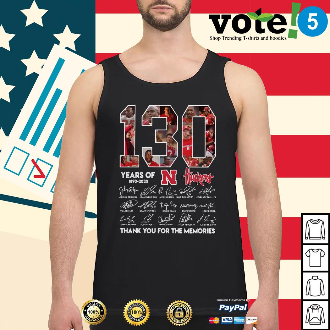 130 Years of Huskers 1890-2020 thank you for the memories signature Tank top