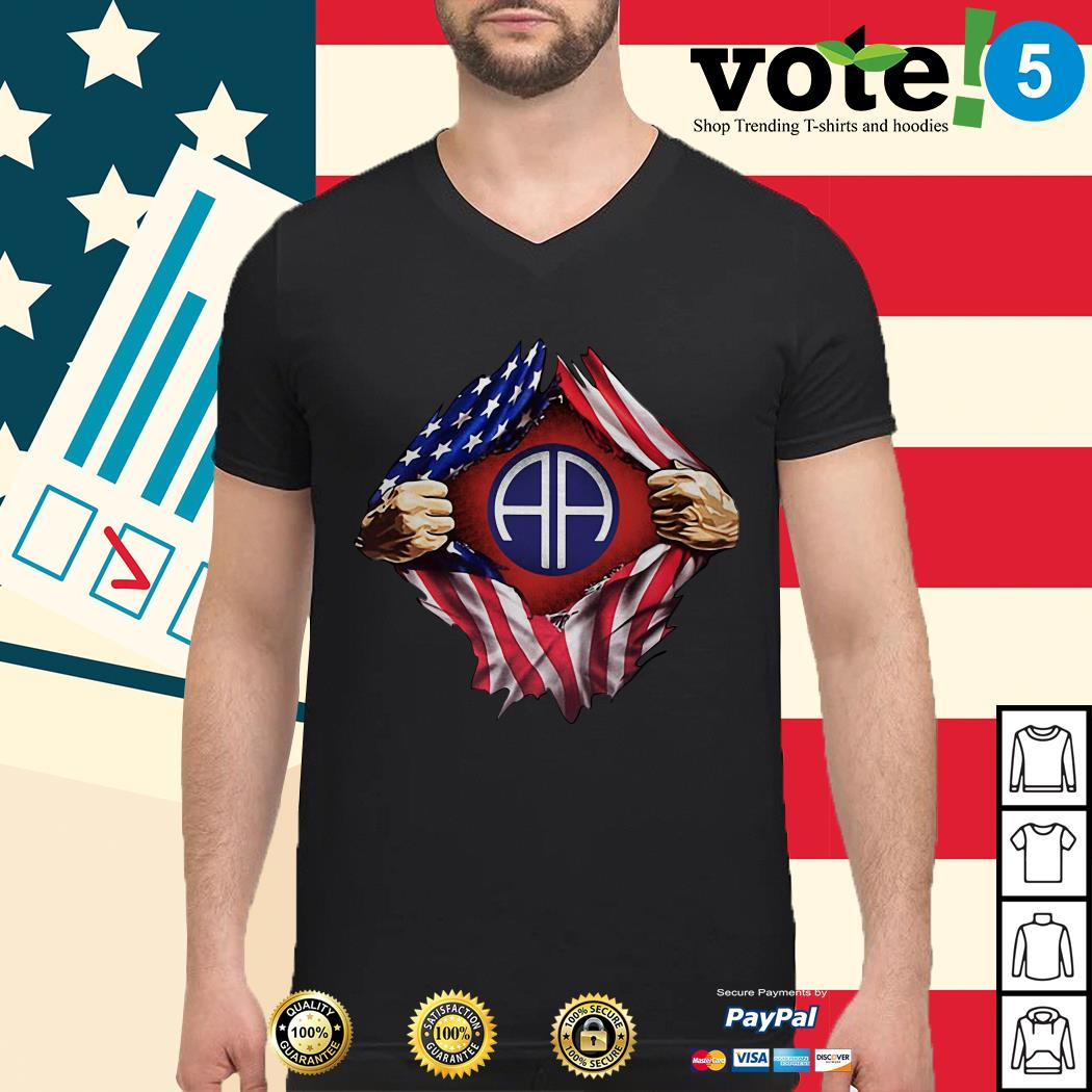 4th Of July independence day Army Airborne blood inside me Guys shirt