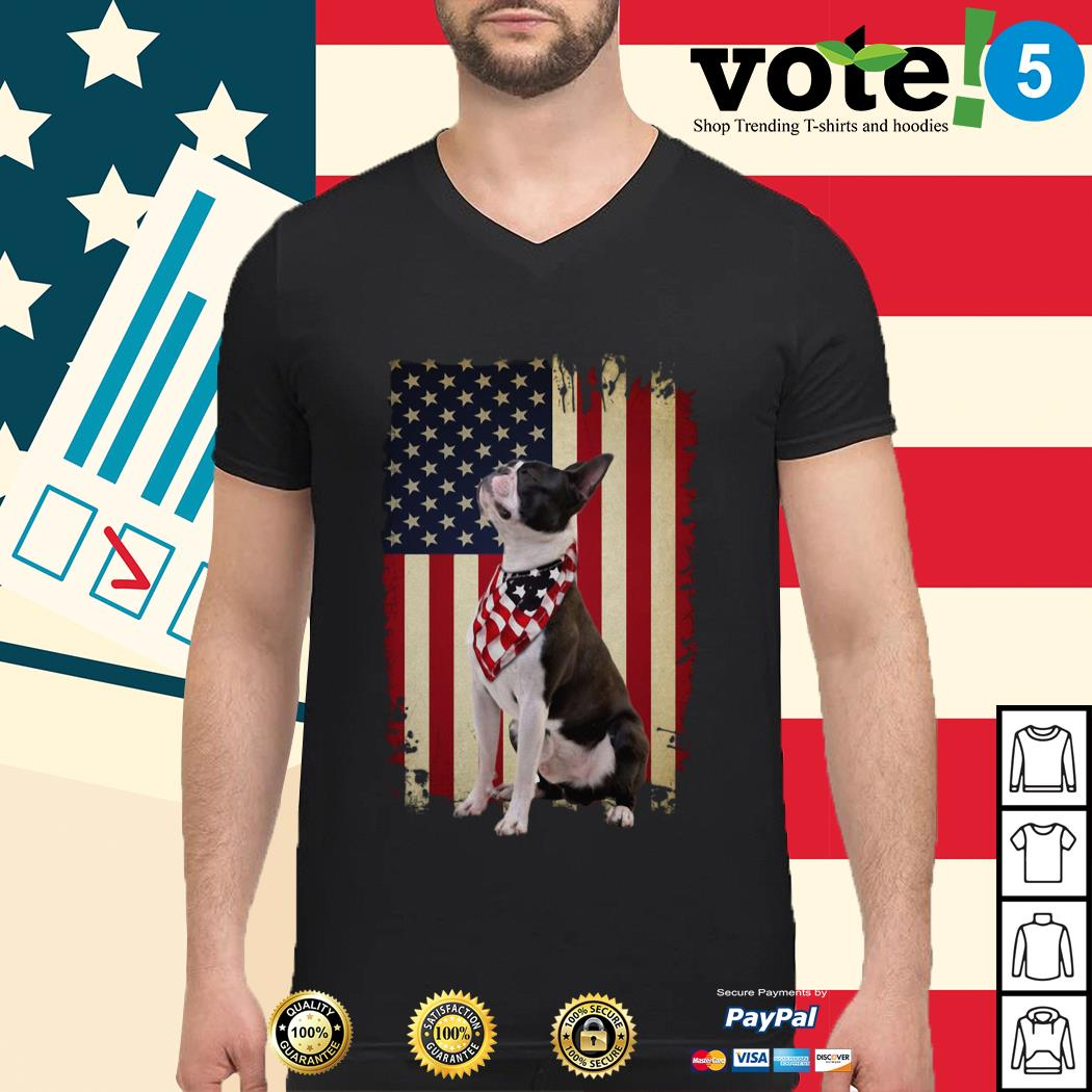 4th July Independence day Boston terrier American flag Guys shirt
