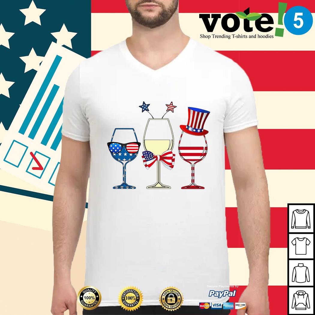 4th July Independence day holiday three glasses wine Guys shirt