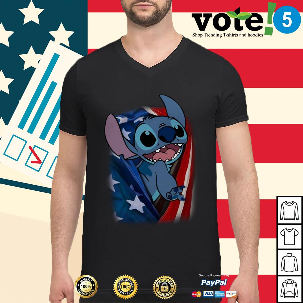 4th July independence day stitch capes American flag Guys shirt