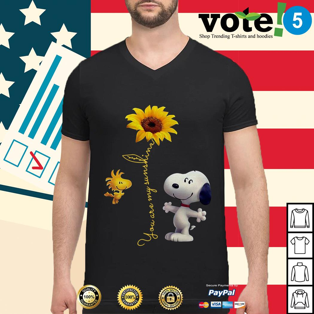 Snoopy and Woodstock sunflower you are my sunshine Guys shirt