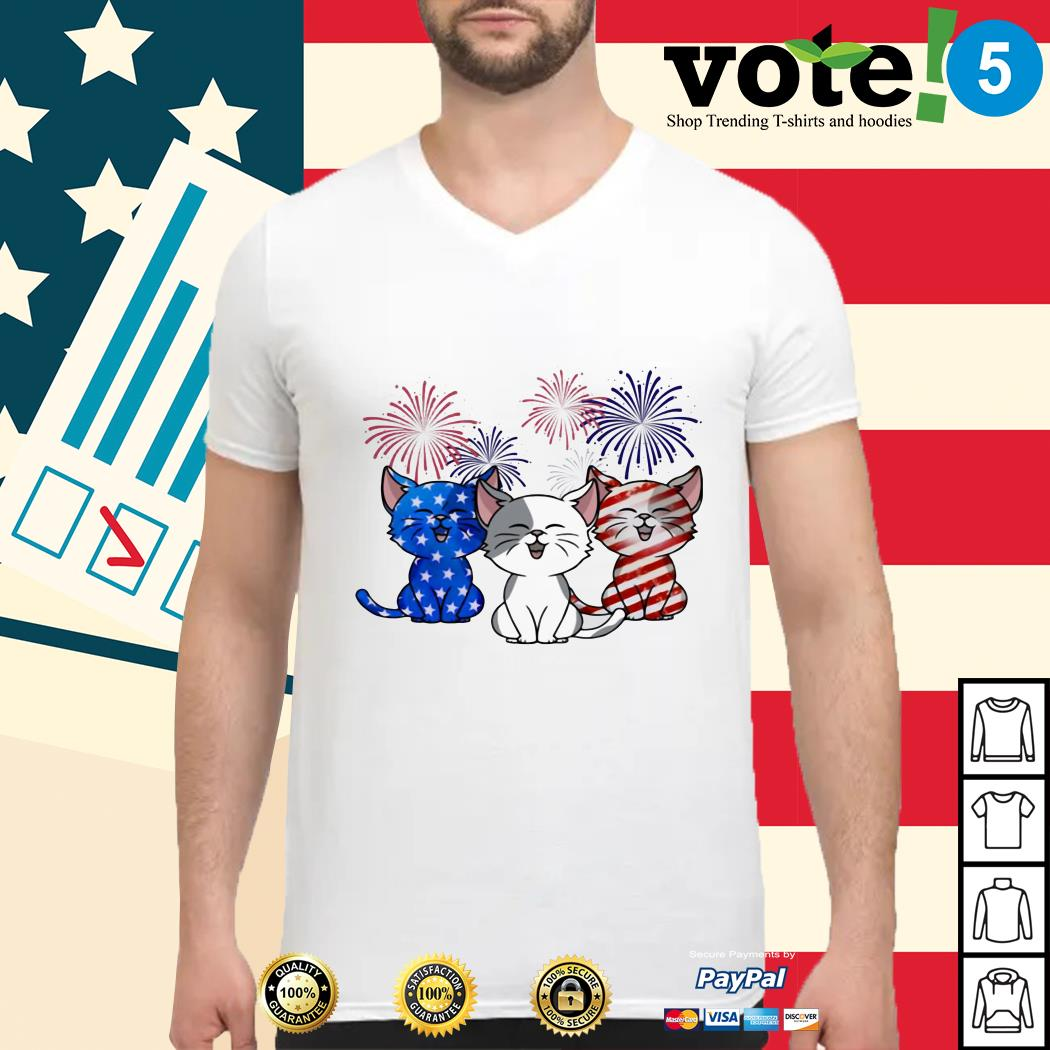 Three cats red white and blue American flag Guys shirt