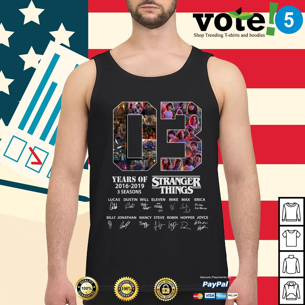 03 Years of Stranger Things 2016-2019 3 seasons Lucas Dustin Will signatures Tank top