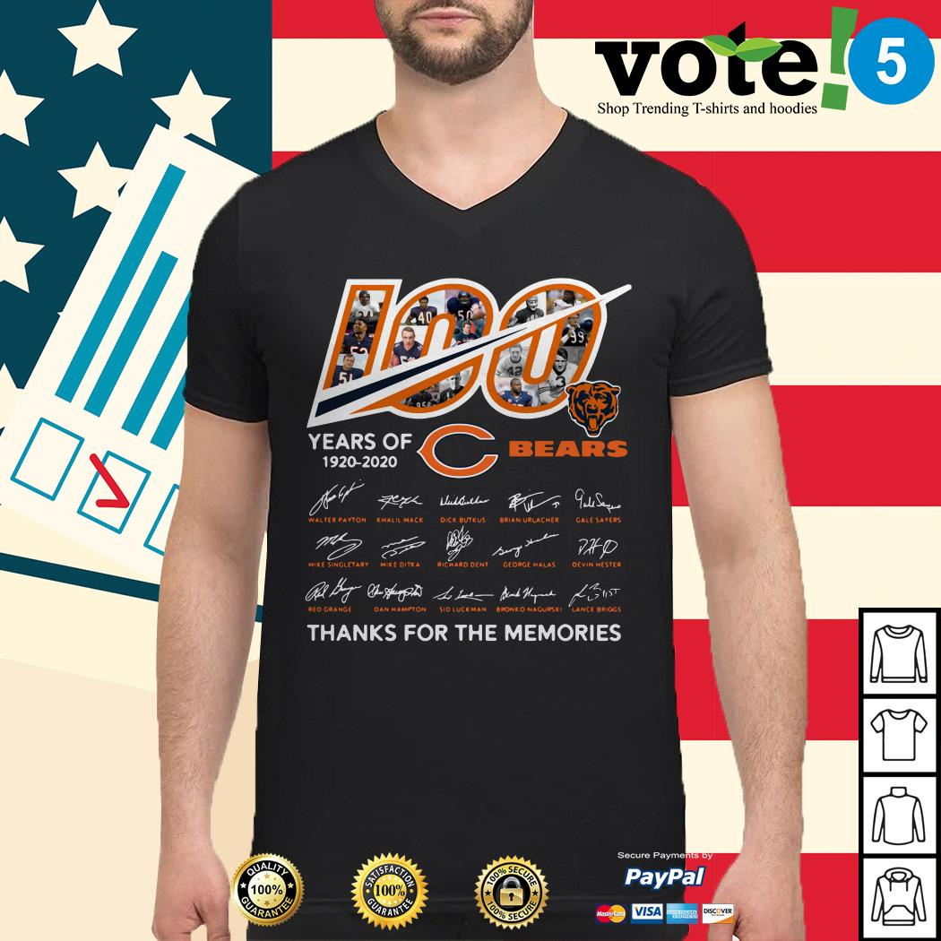 100 Years of 1920-2020 Chicago Bears thank for the memories signatures Guys shirt