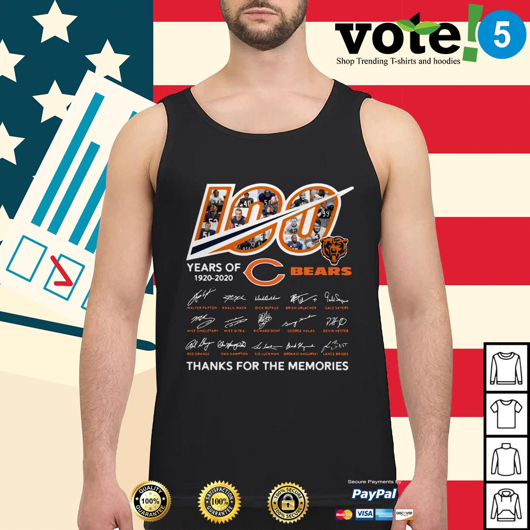 100 Years of 1920-2020 Chicago Bears thank for the memories signatures Tank top