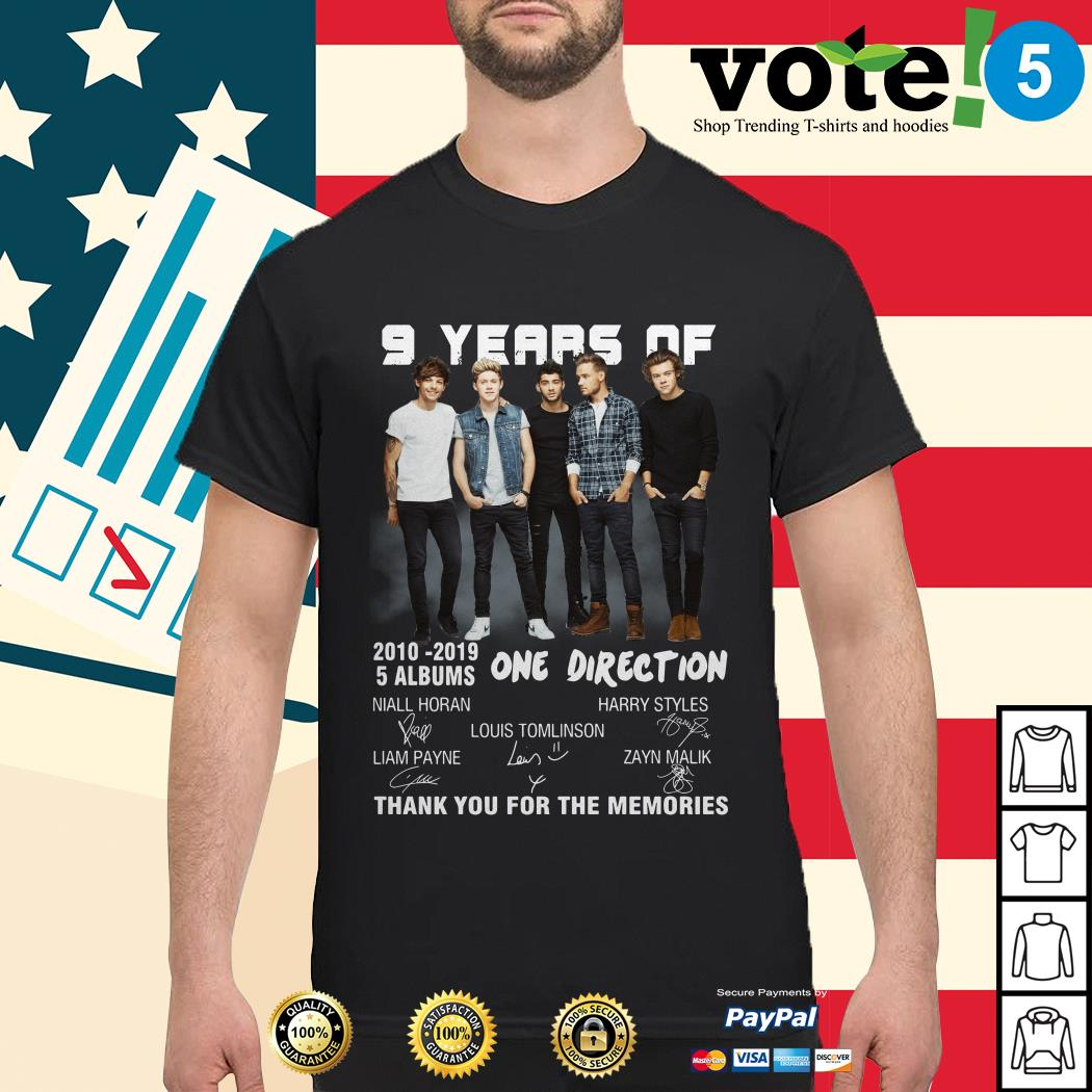9 Years of One Direction 2010-2019 5 Albums signatures shirt