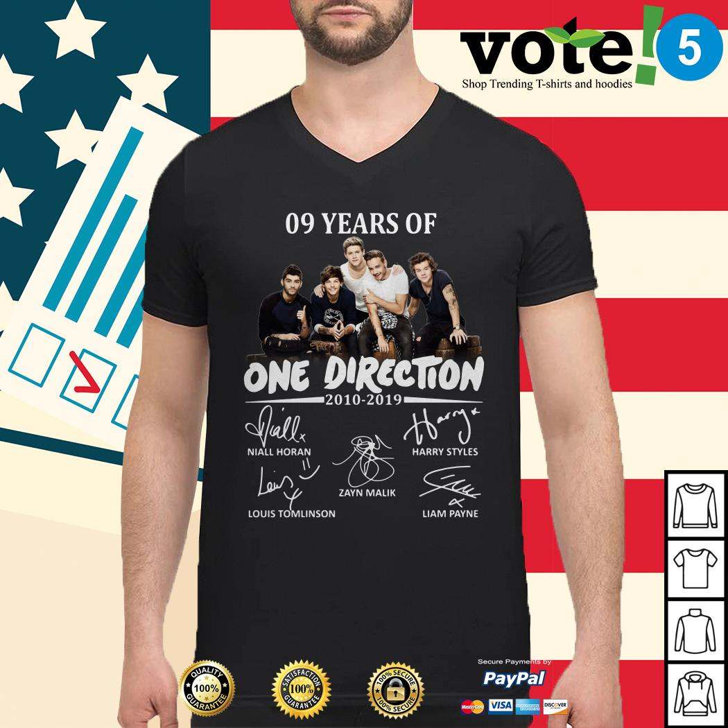 09 Years of One Direction 2010-2019 signatures Guys shirt