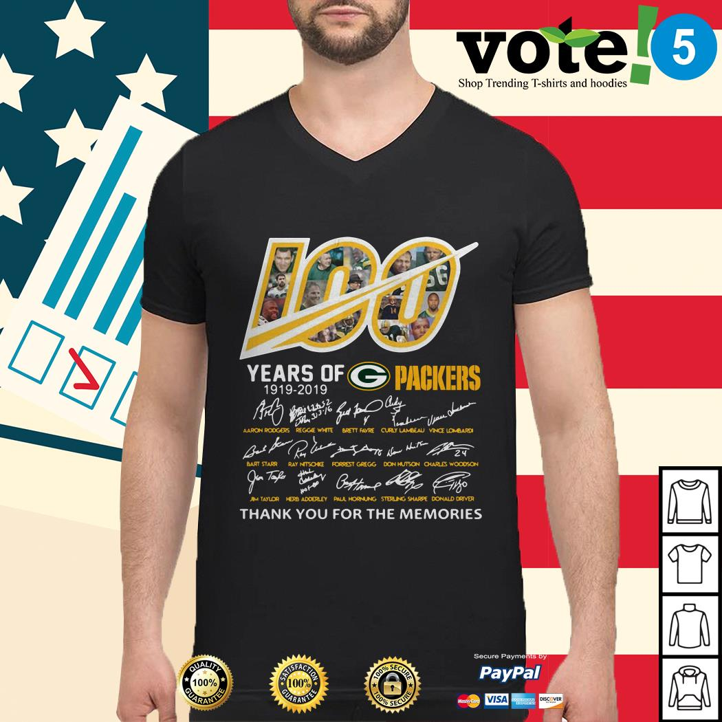 100 Years of Green Bay Packers 1919-2019 signatures Guys shirt