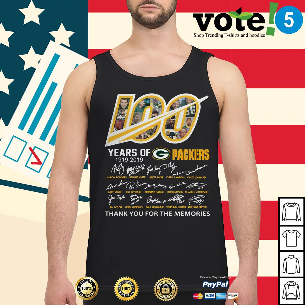 100 Years of Green Bay Packers 1919-2019 signatures Tank top