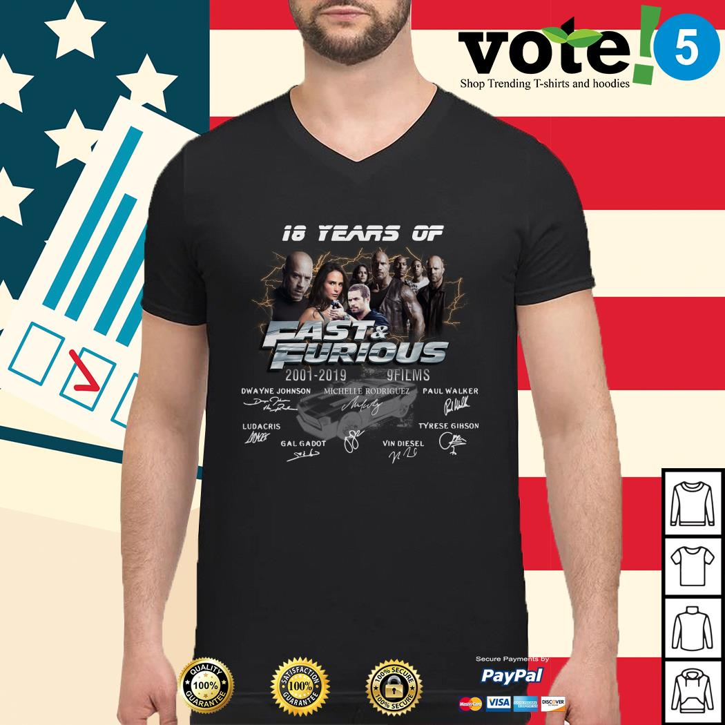 18 years of Fast and Furious 2001-2019 9 films signature Guys shirt