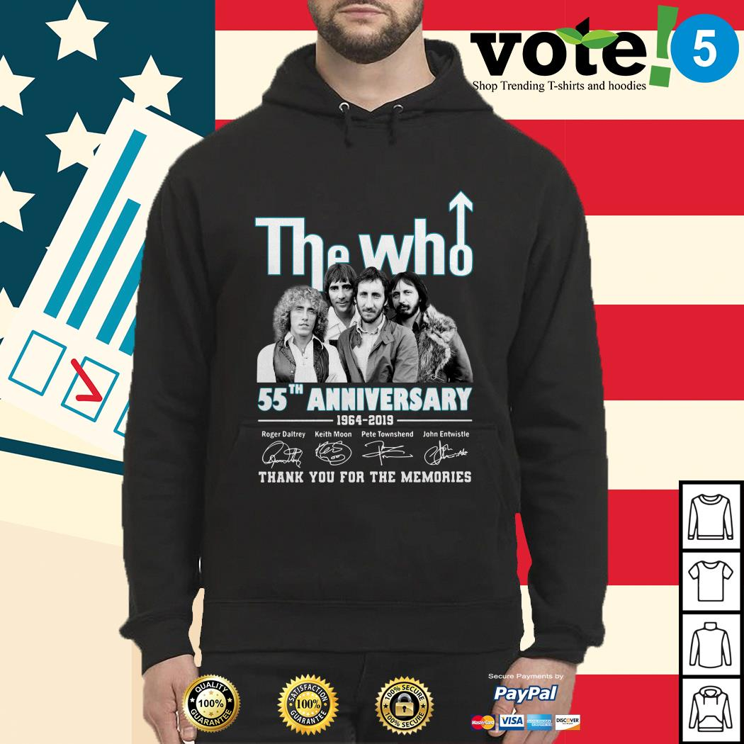 The Who 55th anniversary 1964-2019 thank you for the memories shirt