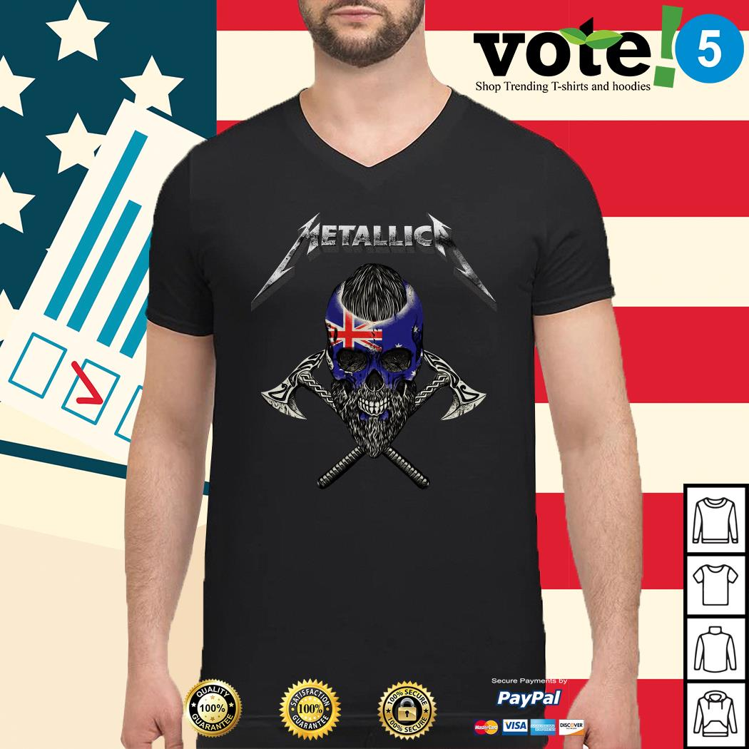Metallica Viking skull Australia flag Guys shirt
