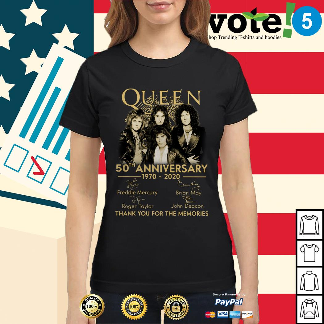 Queen 50th anniversary 1970-2020 thank you for the memories Ladies tee