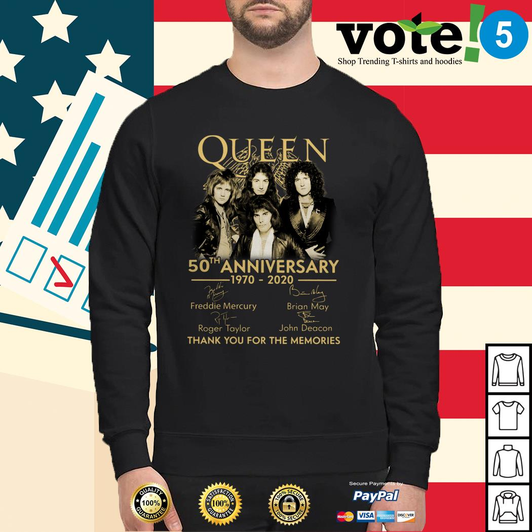 Queen 50th anniversary 1970-2020 thank you for the memories Sweater