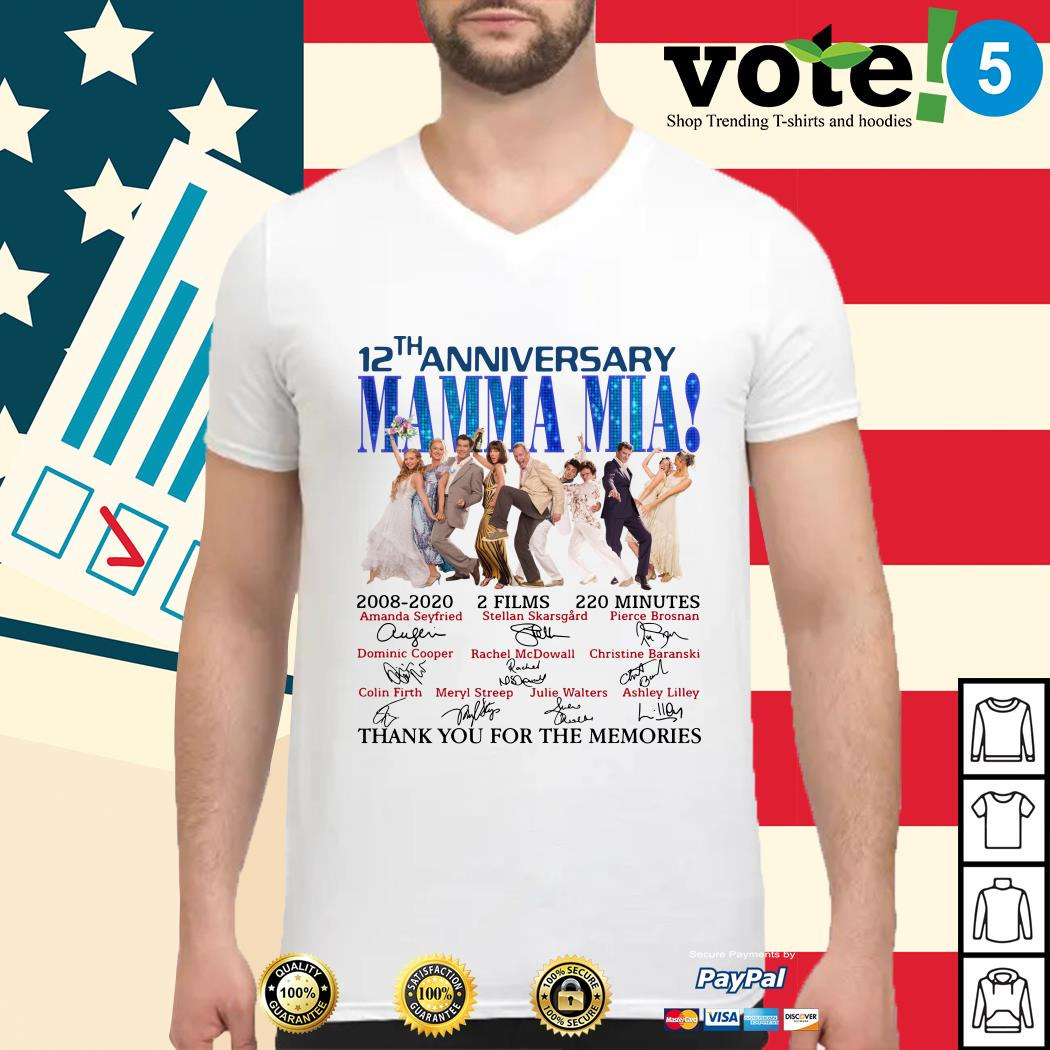 12th anniversary Mamma Mia thank you for the memories Guys shirt