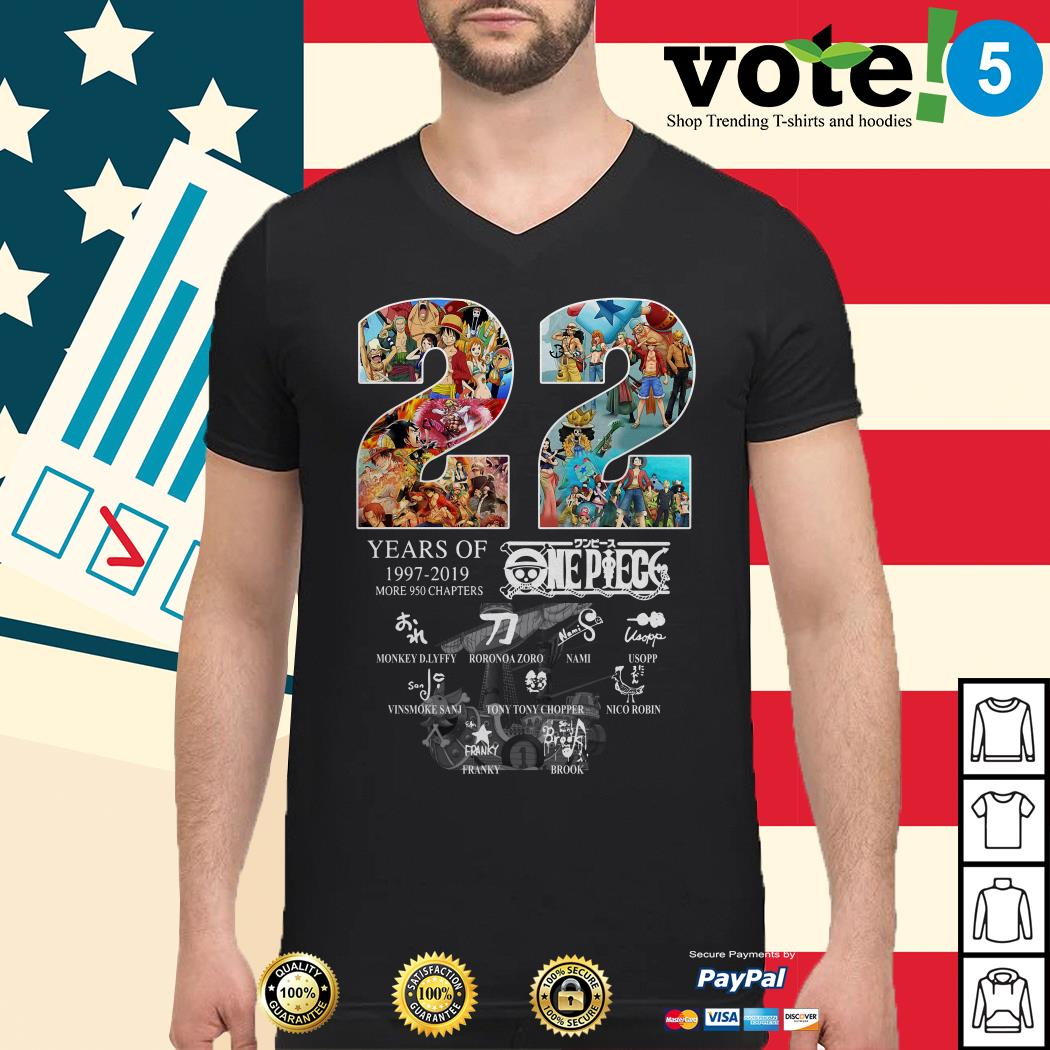 22 Years of One Piece 1997-2019 more 950 chapters signature Guys shirt