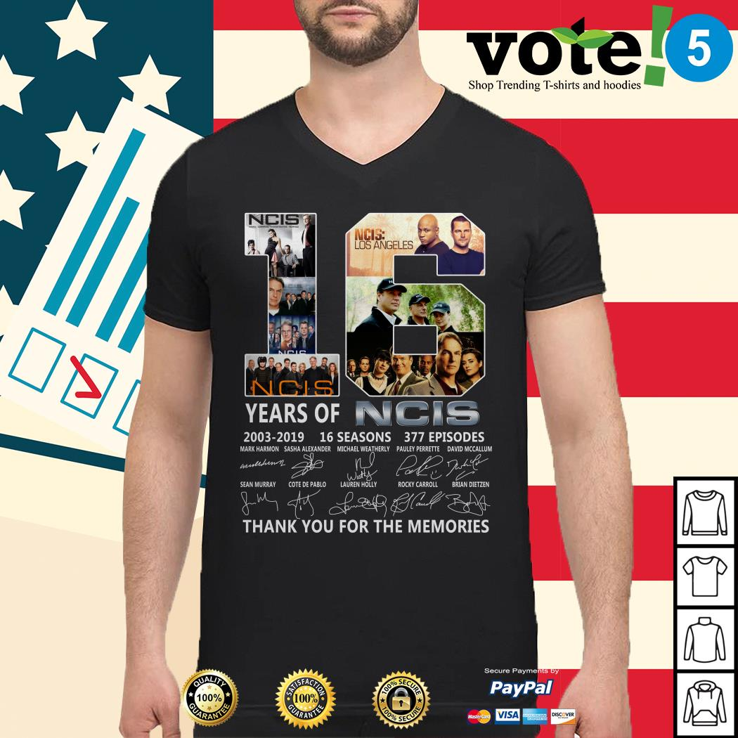16 years of NCIS 2003-2019 16 seasons 377 episodes thank you for the memories Guys shirt