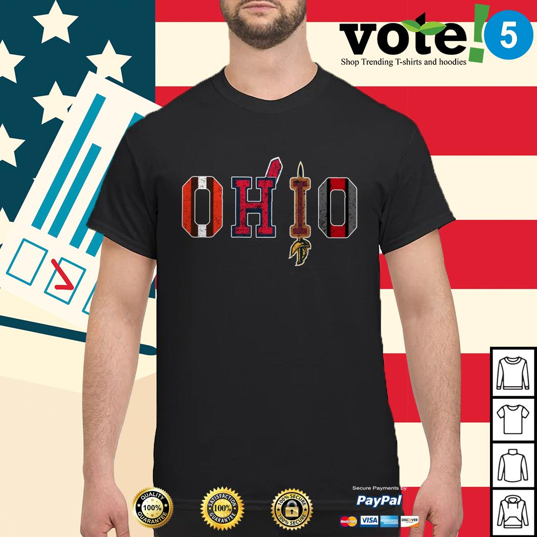 OHIO Cleveland Browns Cleveland Indians Cleveland Cavaliers and Ohio State Buckeyes Ladies tee