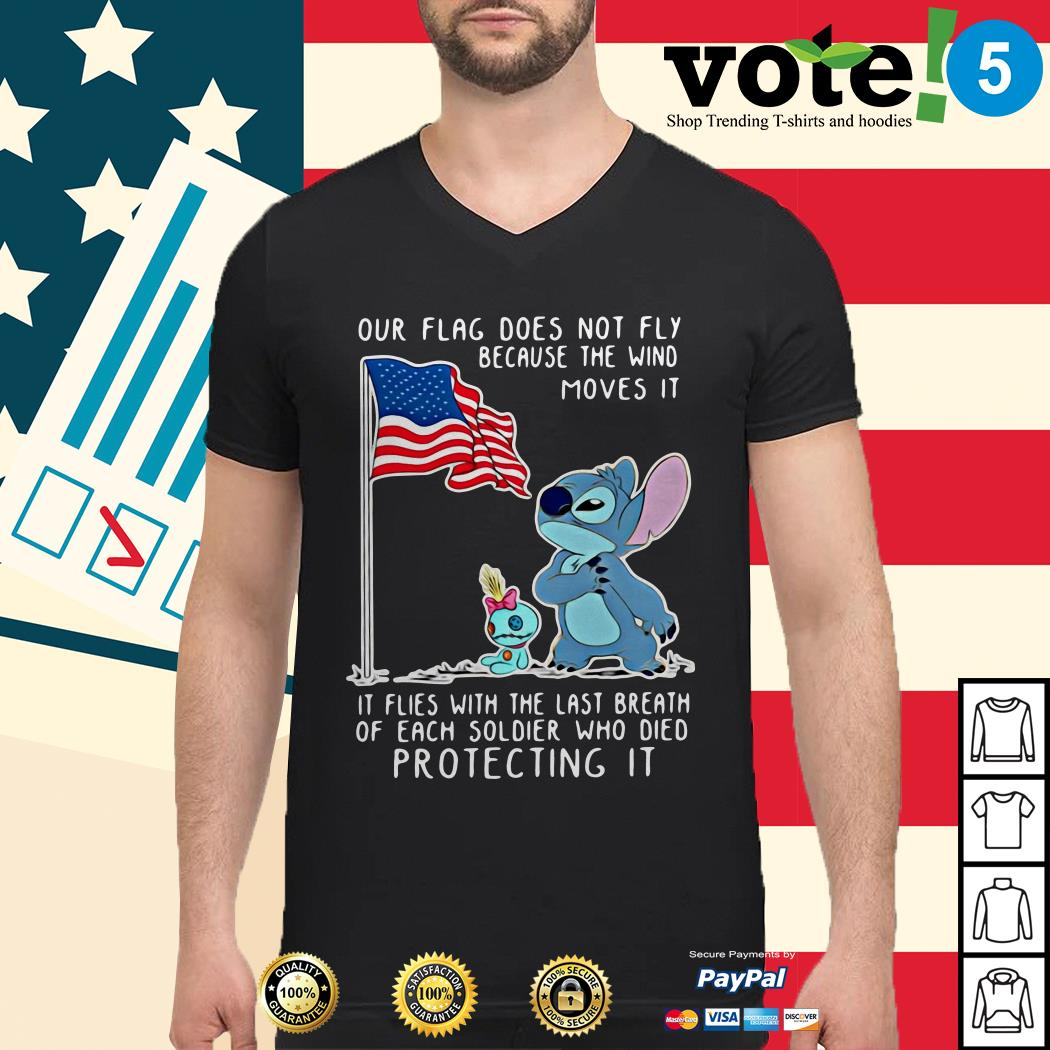 Stitch our flag does not fly because the wind moves it Guys shirt