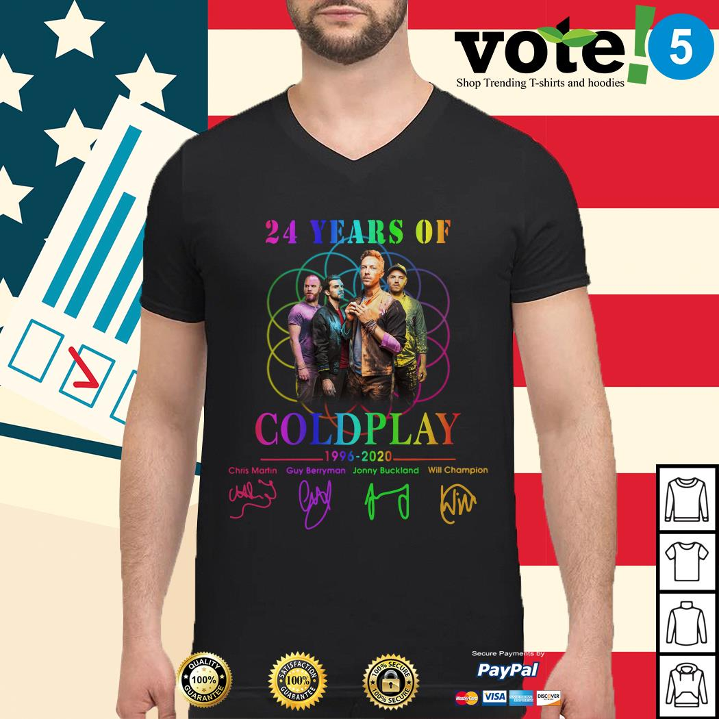 24 years of Coldplay 1996-2020 signatures Guys shirt