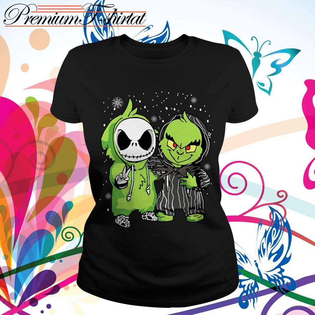 Baby Jack Skellington and Grinch snow Christmas T-shirt, sweater, hoodie and tank top