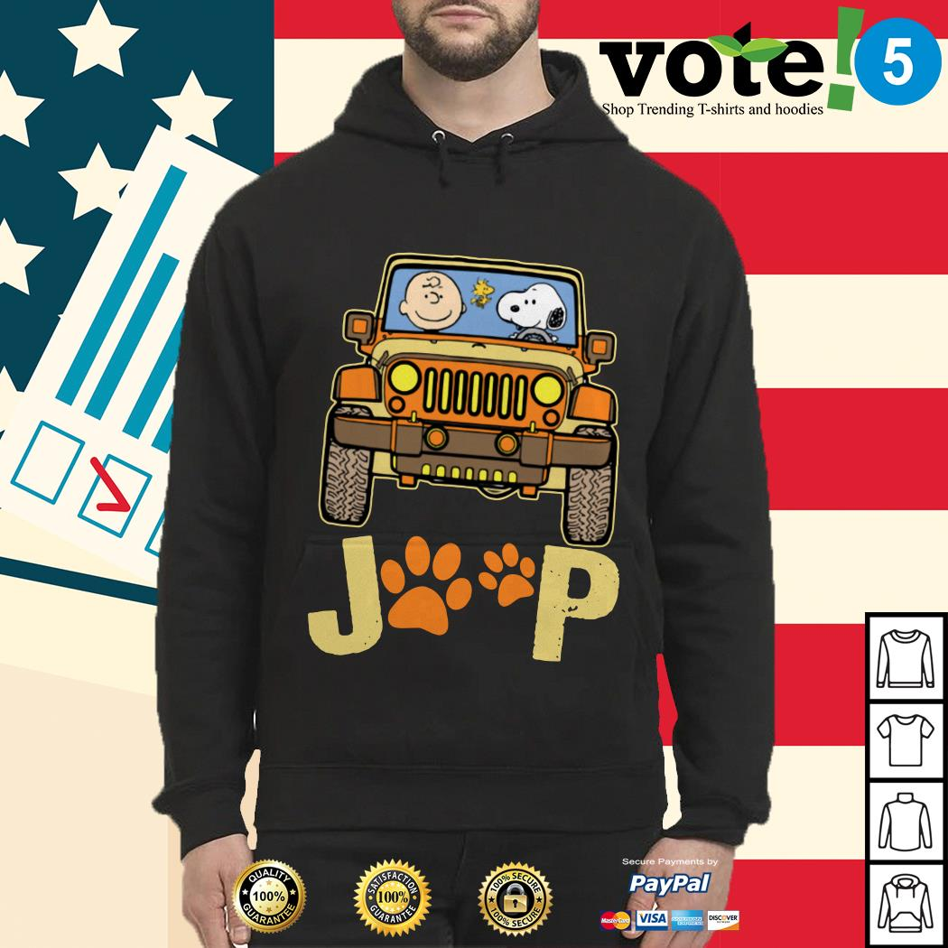 Charlie Brown and Snoopy Jeep paw dog Hoodie