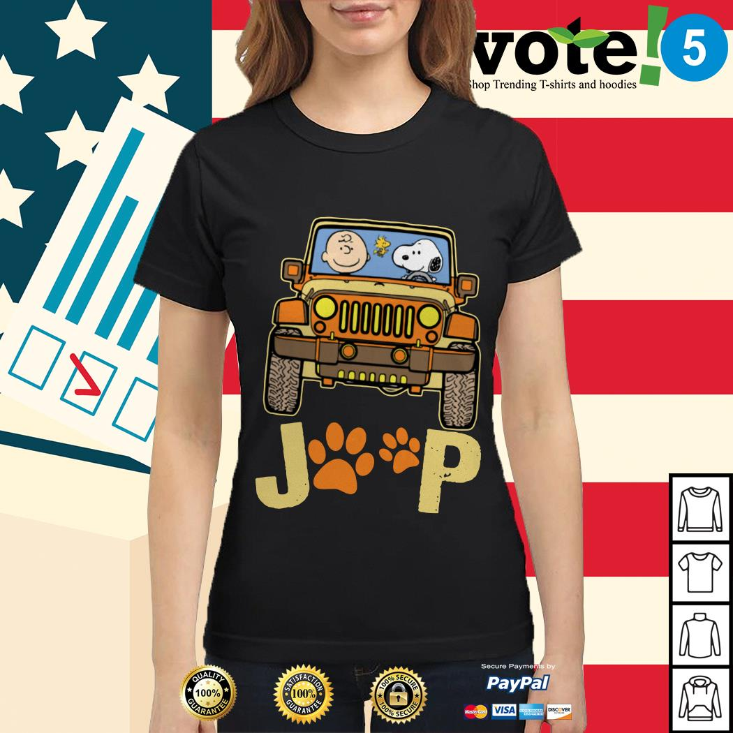 Charlie Brown and Snoopy Jeep paw dog Ladies tee