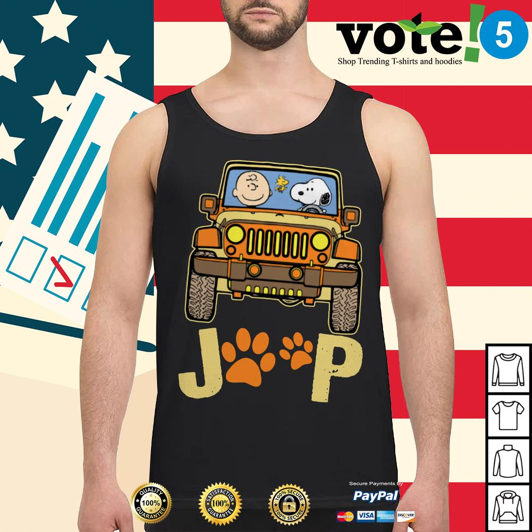 Charlie Brown and Snoopy Jeep paw dog Tank top