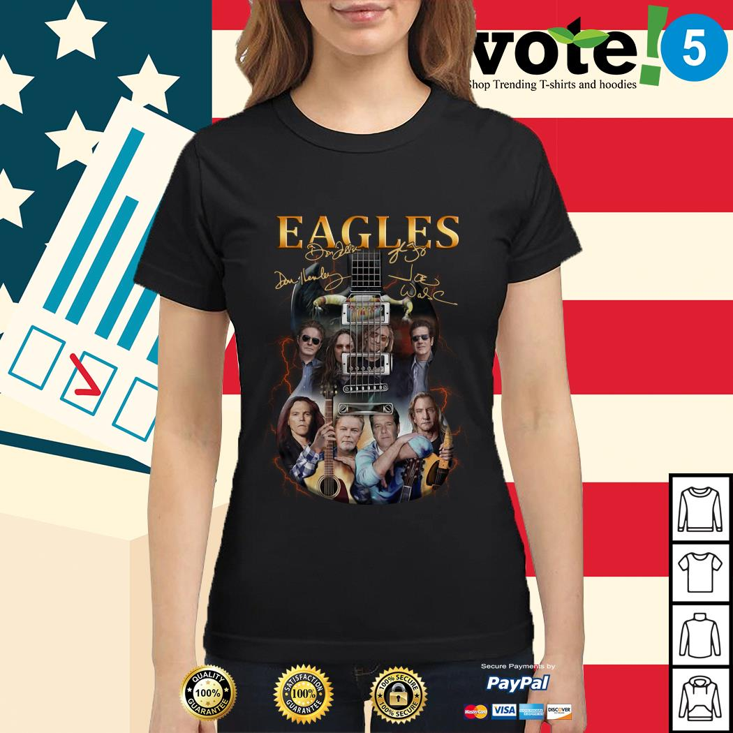 Guitar Eagles Rock Band signature Ladies tee