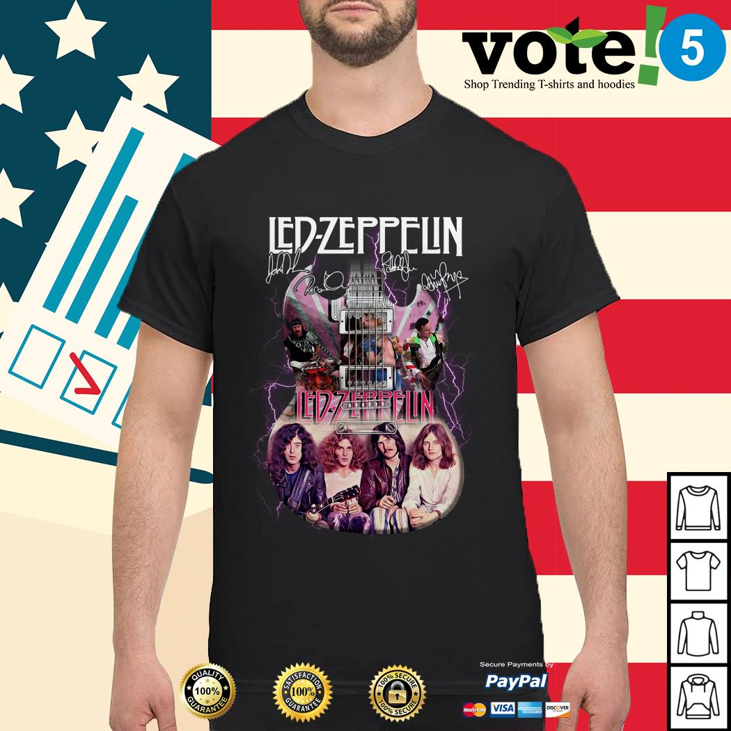 Led Zeppelin guitarist signatures shirt