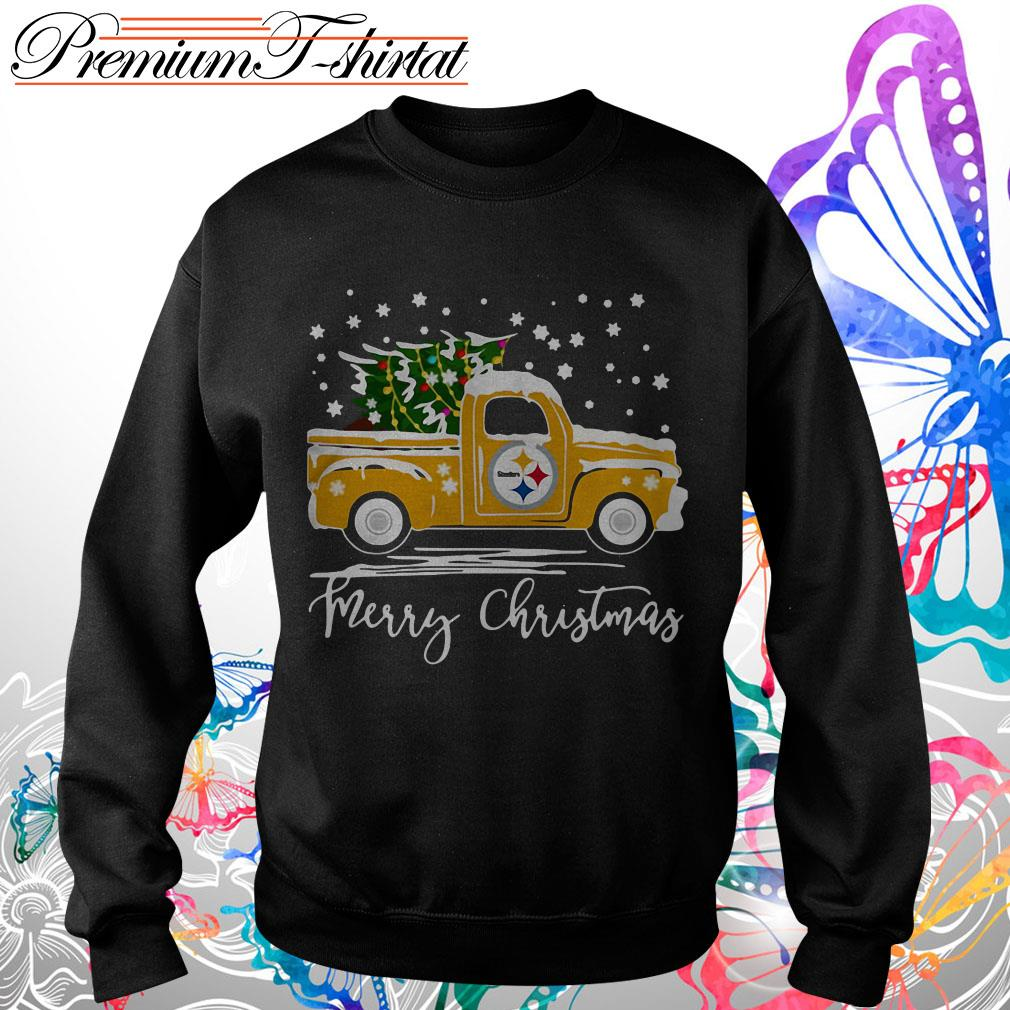 Pittsburgh Steelers pickup truck Merry Christmas shirt