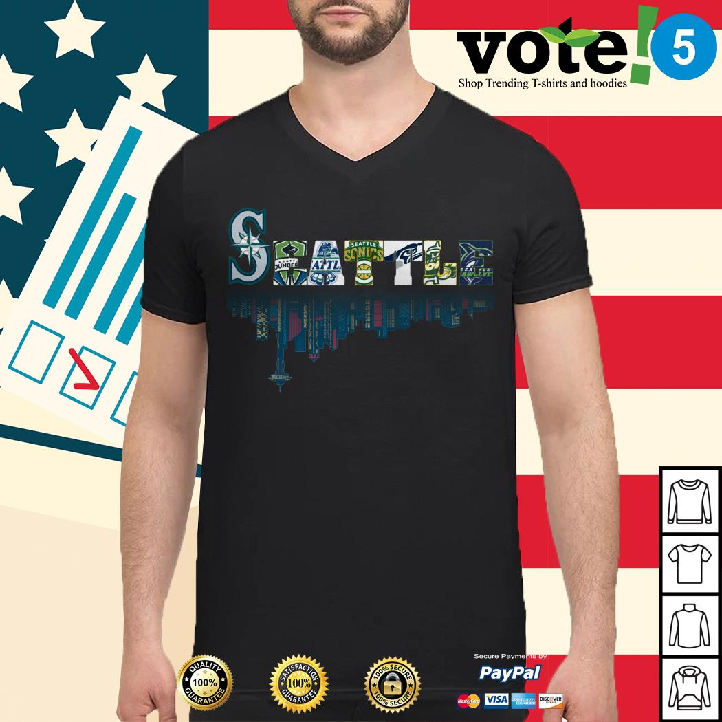 SEATTLE Seattle Mariners Seattle Sounders Seattle Thunderbirds and Seattle Supersonics Guys shirt