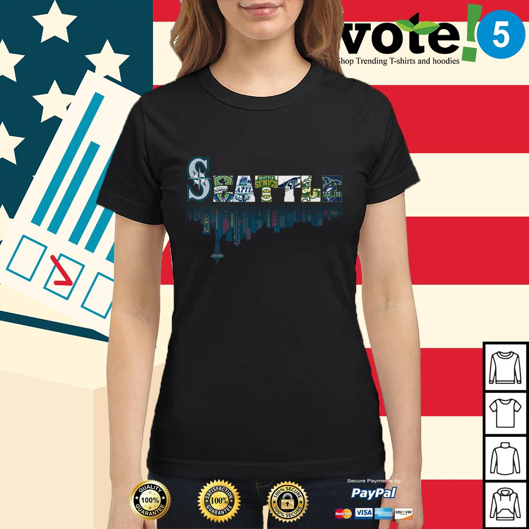 SEATTLE Seattle Mariners Seattle Sounders Seattle Thunderbirds and Seattle Supersonics Ladies tee