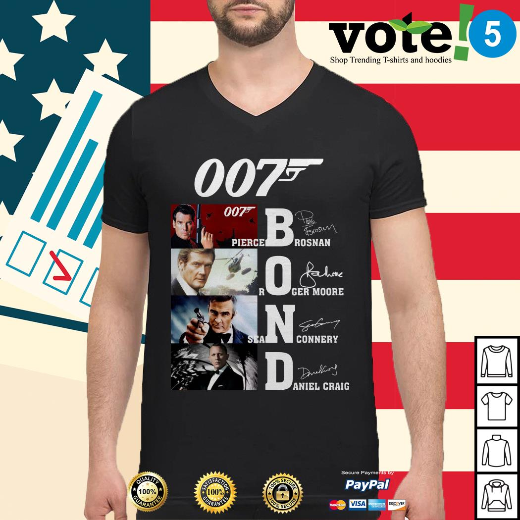 007 Bond Pierce Brosnan Roger Moore Sean Connery Daniel Craig signatures shirt