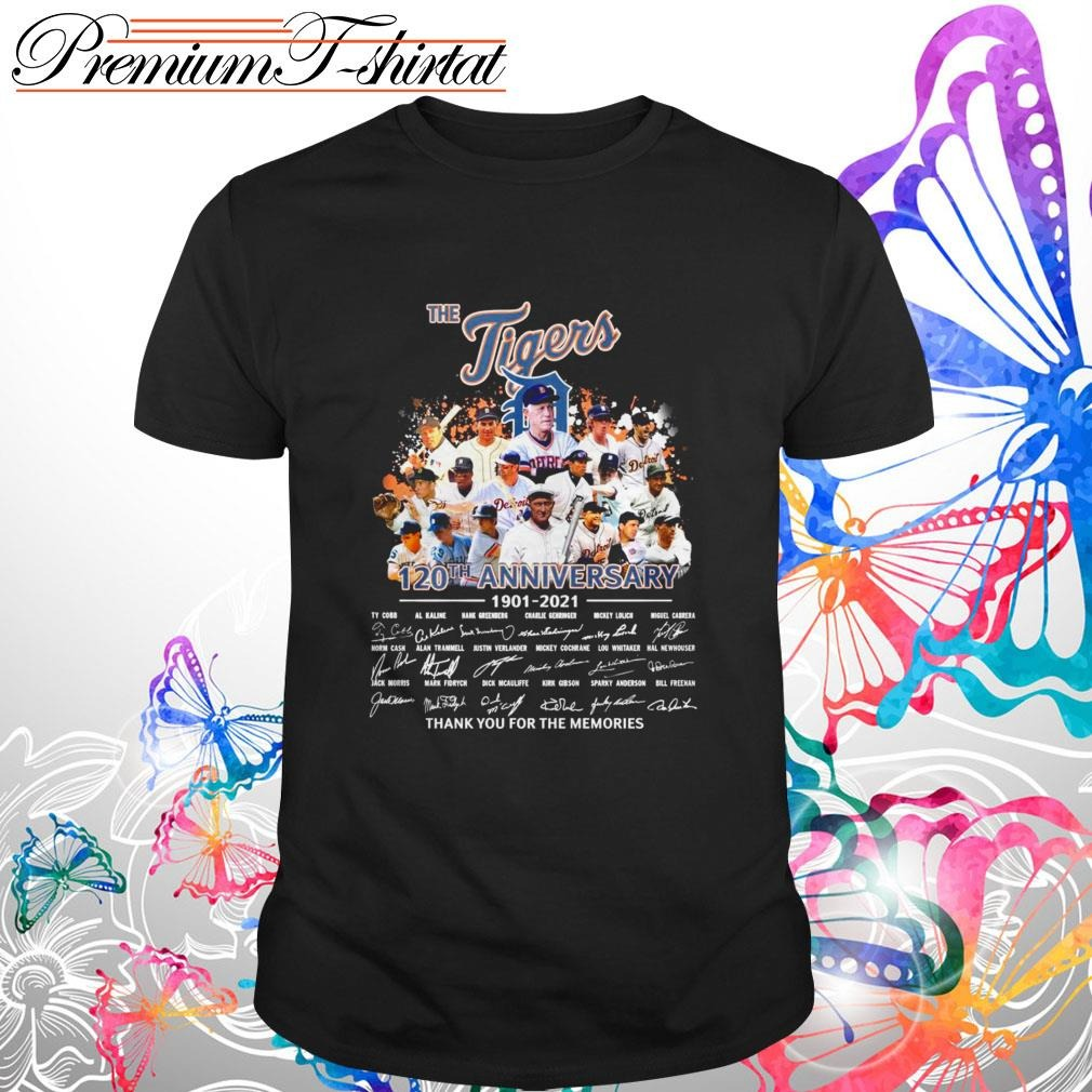 The Detroit Tigers 120th anniversary 1901-2021 thank you for the memories shirt