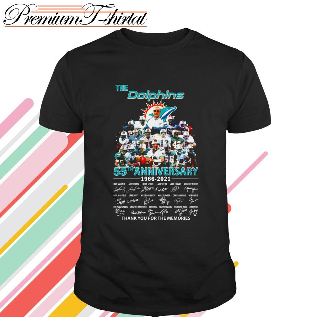 The Miami Dolphins 55th anniversary 1966-2021 thank you for the memories shirt
