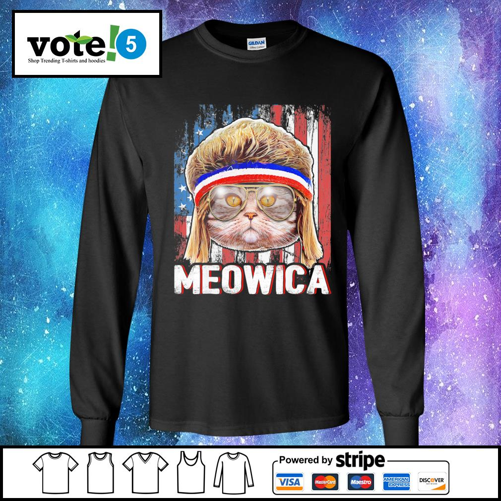 Cat Meowica flag American s Long-Sleeves-Tee