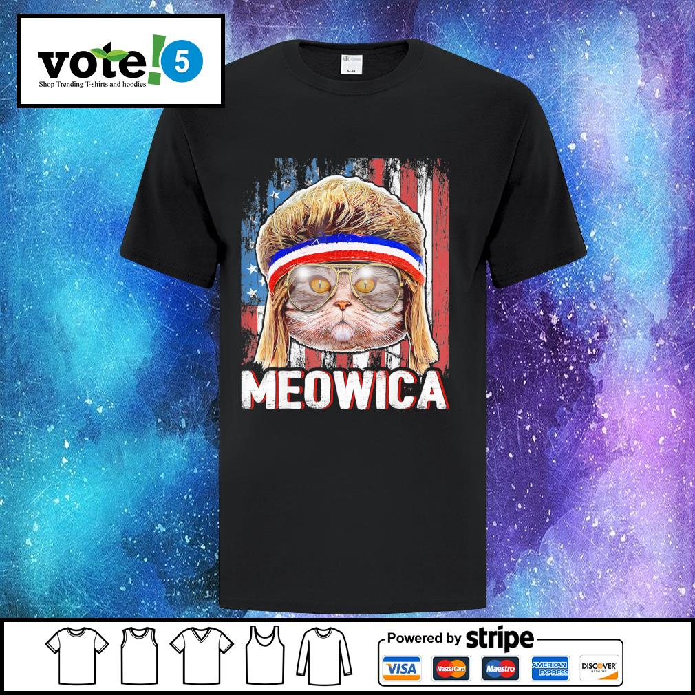 Cat Meowica flag American shirt