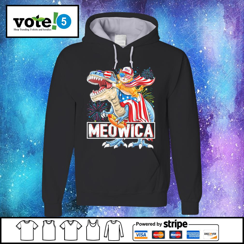 Cat riding T-rex Meowica American s Hoodie