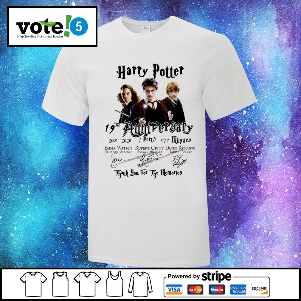 Harry Potter 19th anniversary 2001 2020 7 parts 1179 minutes thank you for the memories shirt