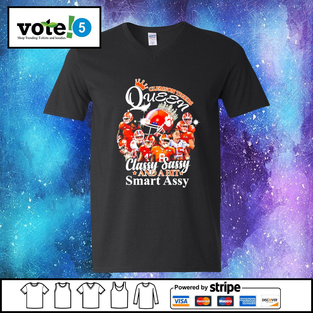 Clemson Tigers Queen classy sassy and a bit smart assy s V-neck-T-shirt